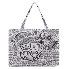 Panic! At The Disco Lyric Quotes Zipper Medium Tote Bag by Onesevenart
