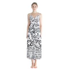 Panic! At The Disco Lyric Quotes Button Up Chiffon Maxi Dress by Onesevenart