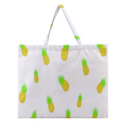 Cute Pineapple Fruite Yellow Green Zipper Large Tote Bag by Mariart