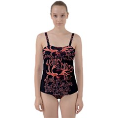 Panic At The Disco   Lying Is The Most Fun A Girl Have Without Taking Her Clothes Twist Front Tankini Set by Onesevenart