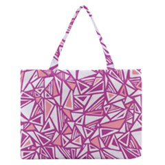 Conversational Triangles Pink White Zipper Medium Tote Bag by Mariart