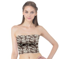 Dried Leaves Grey White Camuflage Summer Tube Top by Mariart