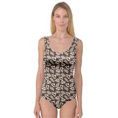 Dried Leaves Grey White Camuflage Summer Princess Tank Leotard  by Mariart
