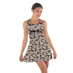 Dried Leaves Grey White Camuflage Summer Cotton Racerback Dress by Mariart