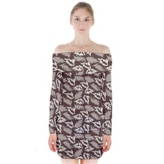 Dried Leaves Grey White Camuflage Summer Long Sleeve Off Shoulder Dress by Mariart