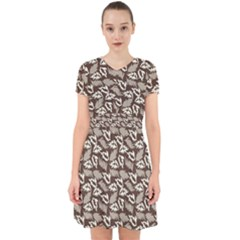 Dried Leaves Grey White Camuflage Summer Adorable In Chiffon Dress