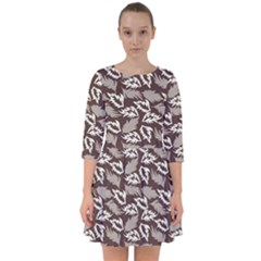 Dried Leaves Grey White Camuflage Summer Smock Dress