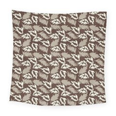 Dried Leaves Grey White Camuflage Summer Square Tapestry (large) by Mariart