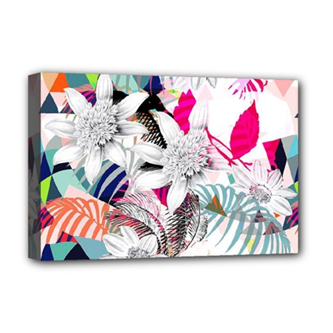 Flower Graphic Pattern Floral Deluxe Canvas 18  X 12   by Mariart