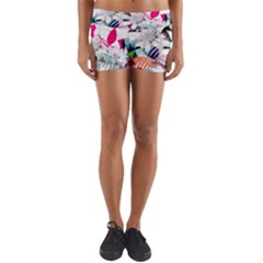Flower Graphic Pattern Floral Yoga Shorts by Mariart