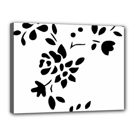Flower Rose Black Sexy Canvas 16  X 12  by Mariart