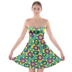 Discrete State Turing Pattern Polka Dots Green Purple Yellow Rainbow Sexy Beauty Strapless Bra Top Dress