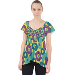 Discrete State Turing Pattern Polka Dots Green Purple Yellow Rainbow Sexy Beauty Dolly Top