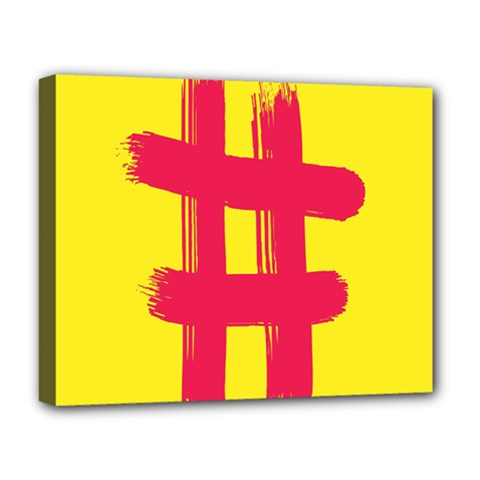 Fun Ain t Gone Fence Sign Red Yellow Flag Deluxe Canvas 20  X 16