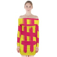 Fun Ain t Gone Fence Sign Red Yellow Flag Long Sleeve Off Shoulder Dress by Mariart