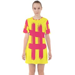 Fun Ain t Gone Fence Sign Red Yellow Flag Sixties Short Sleeve Mini Dress by Mariart