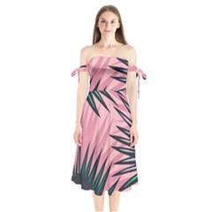Graciela Detail Petticoat Palm Pink Green Shoulder Tie Bardot Midi Dress by Mariart