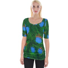 Fluorescence Microscopy Green Blue Wide Neckline Tee