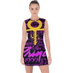 Prince Poster Lace Up Front Bodycon Dress