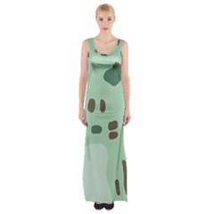 Lineless Background For Minty Wildlife Monster Maxi Thigh Split Dress by Mariart