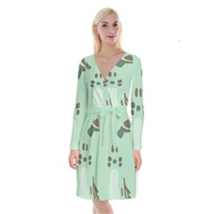 Lineless Background For Minty Wildlife Monster Long Sleeve Velvet Front Wrap Dress