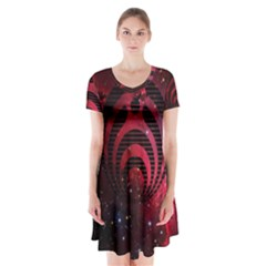 Bassnectar Galaxy Nebula Short Sleeve V Neck Flare Dress by Onesevenart