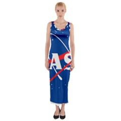 Nasa Logo Fitted Maxi Dress by Onesevenart