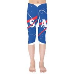 Nasa Logo Kids  Capri Leggings  by Onesevenart