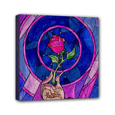 Enchanted Rose Stained Glass Mini Canvas 6  X 6  by Onesevenart