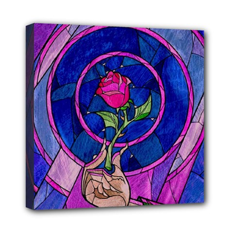 Enchanted Rose Stained Glass Mini Canvas 8  X 8  by Onesevenart