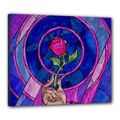 Enchanted Rose Stained Glass Canvas 24  X 20  by Onesevenart