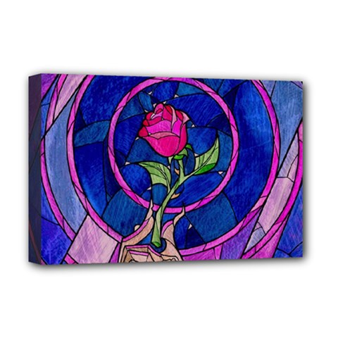 Enchanted Rose Stained Glass Deluxe Canvas 18  X 12   by Onesevenart