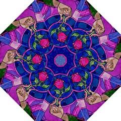 Enchanted Rose Stained Glass Hook Handle Umbrellas (medium) by Onesevenart