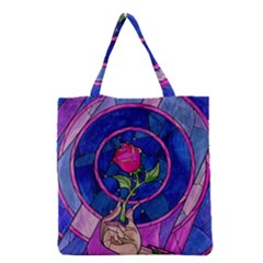 Enchanted Rose Stained Glass Grocery Tote Bag by Onesevenart