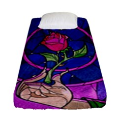 Enchanted Rose Stained Glass Fitted Sheet (single Size) by Onesevenart