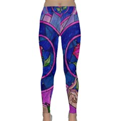 Enchanted Rose Stained Glass Classic Yoga Leggings by Onesevenart