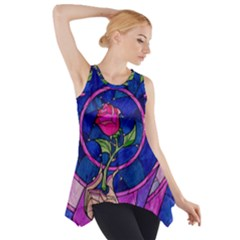 Enchanted Rose Stained Glass Side Drop Tank Tunic by Onesevenart