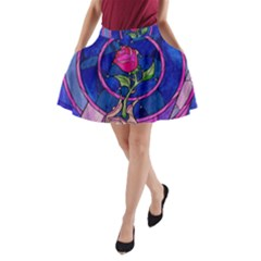 Enchanted Rose Stained Glass A Line Pocket Skirt by Onesevenart