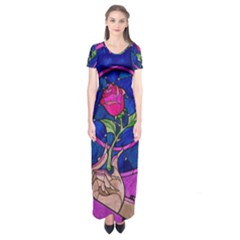 Enchanted Rose Stained Glass Short Sleeve Maxi Dress by Onesevenart