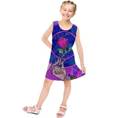 Enchanted Rose Stained Glass Kids  Tunic Dress by Onesevenart