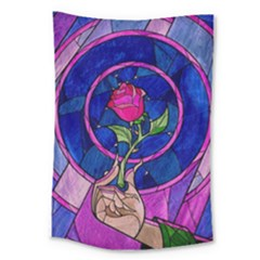 Enchanted Rose Stained Glass Large Tapestry by Onesevenart