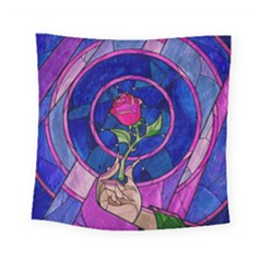 Enchanted Rose Stained Glass Square Tapestry (small) by Onesevenart