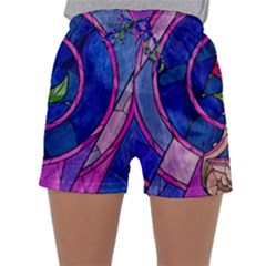 Enchanted Rose Stained Glass Sleepwear Shorts by Onesevenart