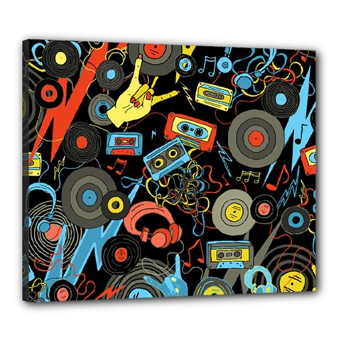 Music Pattern Canvas 24  X 20  by Onesevenart