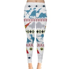 My Grandma Likes Dinosaurs Ugly Holiday Christmas Leggings  by Onesevenart