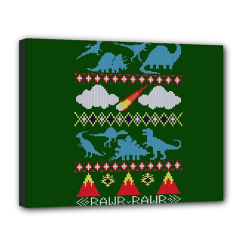 My Grandma Likes Dinosaurs Ugly Holiday Christmas Green Background Canvas 14  X 11  by Onesevenart