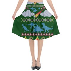 My Grandma Likes Dinosaurs Ugly Holiday Christmas Green Background Flared Midi Skirt
