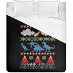 My Grandma Likes Dinosaurs Ugly Holiday Christmas Black Background Duvet Cover (california King Size) by Onesevenart
