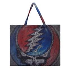 Grateful Dead Logo Zipper Large Tote Bag by Onesevenart