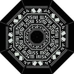 Kiss Me I m Irish Ugly Christmas Black Background Folding Umbrellas by Onesevenart